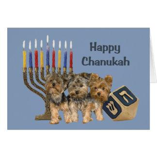 Cartão Menorah Dreidel de Chanukah do yorkshire