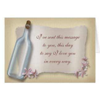 Cartão Mensagem de um notecard do amor do ~ da garrafa