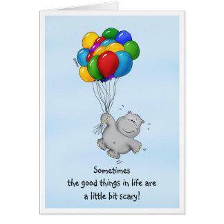 Cartão Mensagem encorajadora - hipopótamo com balões