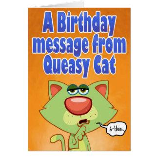 Cartão Mensagem Queasy do aniversário do gato