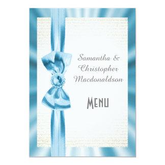 Cartão Menu azul pastel liso do casamento do arco da fita