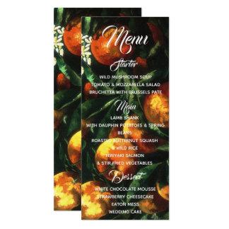 Cartão Menu botânico das laranjas