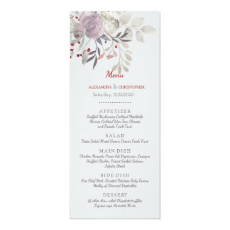 Cartão Menu botânico do casamento da aguarela floral do