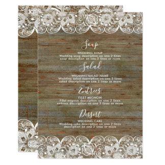 Cartão Menu branco de madeira rústico do casamento do