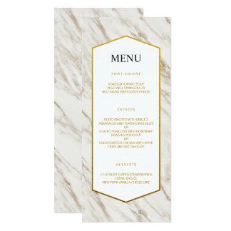 Cartão Menu | de mármore moderno do casamento do ouro