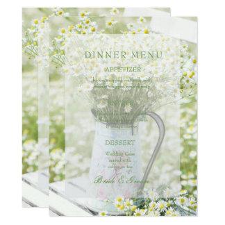 Cartão Menu do casamento da flor da camomila das