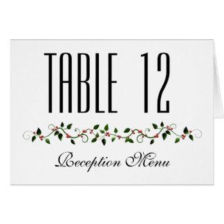 Cartão Menu do casamento do feriado de dezembro e número
