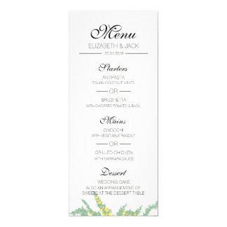 Cartão Menu do casamento do primavera