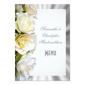 Cartão Menu do casamento floral e de prata de rosa branco