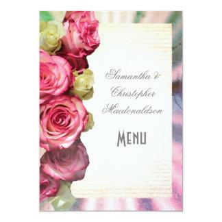 Cartão Menu do casamento floral e de prata do rosa do