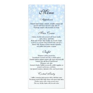 Cartão Menu do casamento no inverno, menu do casamento do