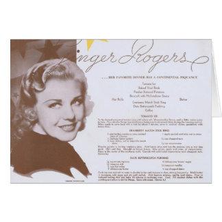 Cartão Menu do partido de comensal do vintage de Ginger