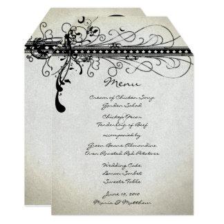 Cartão Menu elegante do casamento do país rústico Funky