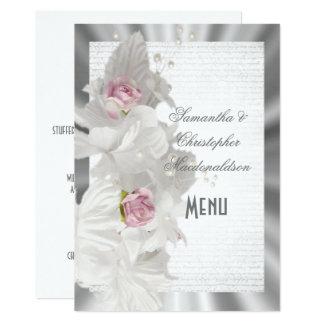 Cartão Menu floral branco do casamento de prata do rosa