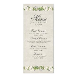 Cartão Menu floral do casamento da anêmona branca
