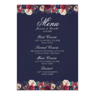 Cartão Menu floral do casamento do Merlot de Borgonha do