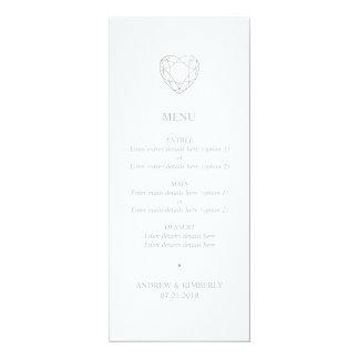 Cartão Menu geométrico de prata do casamento do coração