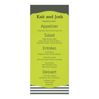 Cartão Menu minimalista elegante do verde morno do carvão