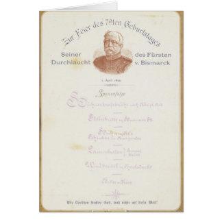 Cartão Menu no príncipe von Bismarcks