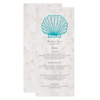 Cartão Menu rústico do casamento do Seashell de turquesa