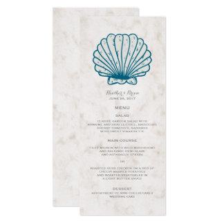 Cartão Menu rústico do casamento do Seashell dos azuis