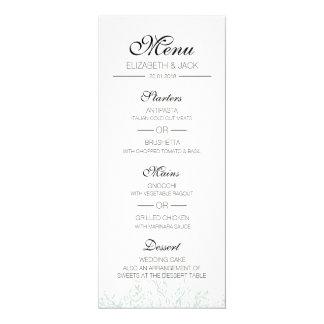 Cartão Menu verde Pastel elegante do casamento