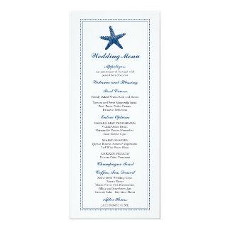 Cartão Menu Wedding gracioso da estrela do mar |