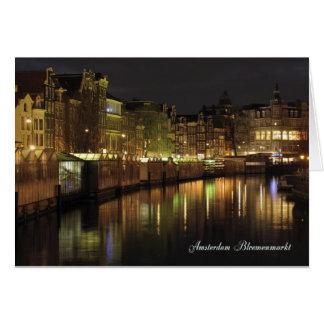 Cartão Mercado da flor de Amsterdão na noite