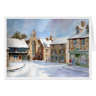 Cartão Mercado de Northleach na neve