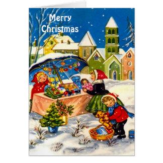 Cartão Mercado retro do natal vintage