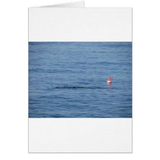 Cartão Mergulhador do mar na natação do terno do