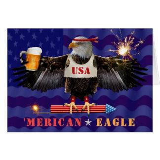 Cartão Merican engraçado Eagle 4o da cerveja e dos
