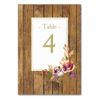 Cartão Mesa de madeira cor-de-rosa do casamento do bronze