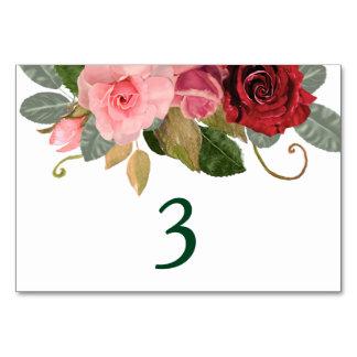 Cartão Mesa do casamento da beira do rosa do vermelho e