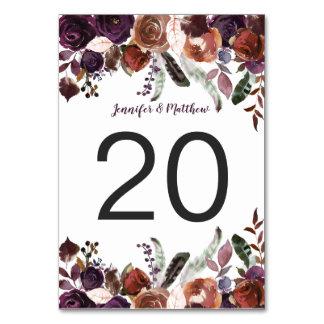 Cartão Mesa floral da beringela rústica da aguarela de