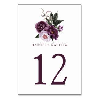 Cartão Mesa floral   das hortaliças do rosa roxo escuro