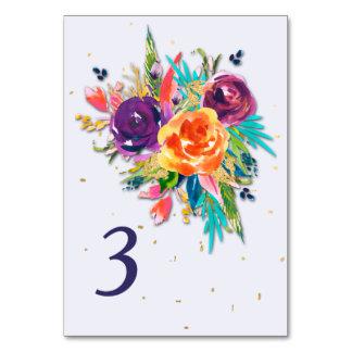 Cartão Mesa floral do casamento da tangerina azul