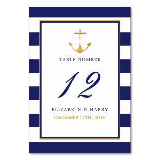 Cartão Mesa náutica do casamento da âncora do ouro do