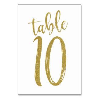 Cartão Mesa Number10 do brilho do ouro