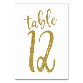 Cartão Mesa número 12 do brilho do ouro