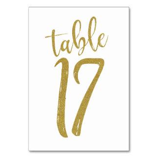 Cartão Mesa número 17 do brilho do ouro