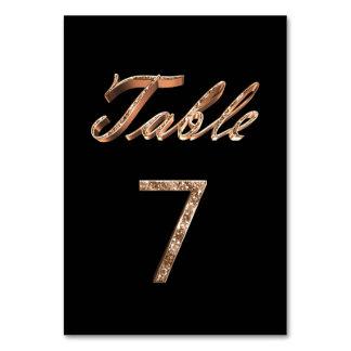 Cartão Mesa preta chique elegante número 7 do partido do