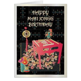 Cartão Mesa vermelha do Mah Jongg