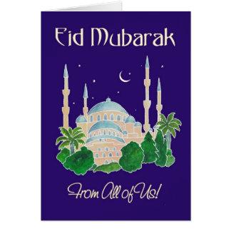 """Cartão Mesquita pelo luar """"dtodos nós"""" Eid Mubarak"""