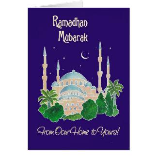 """Cartão Mesquita pelo luar """"nossa casa a seu"""" Ramadan"""