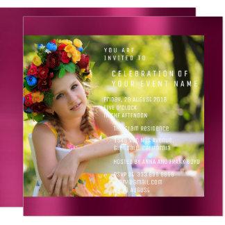 Cartão Metal do rosa do rubi da festa de aniversário de