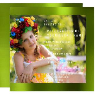 Cartão Metal verde de Cali da festa de aniversário de
