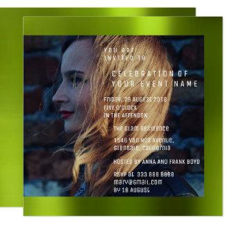Cartão Metal verde de Cali do aniversário nupcial da