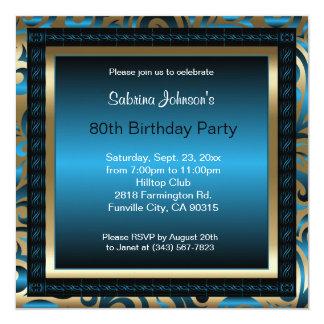 Cartão metálico azul & ouro da festa de aniversário | do