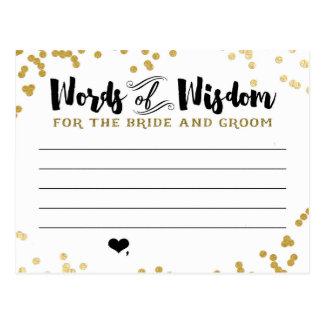 Cartão metálico do conselho do ouro para noivos